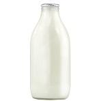 Fresh Skimmed Milk in glass bottle
